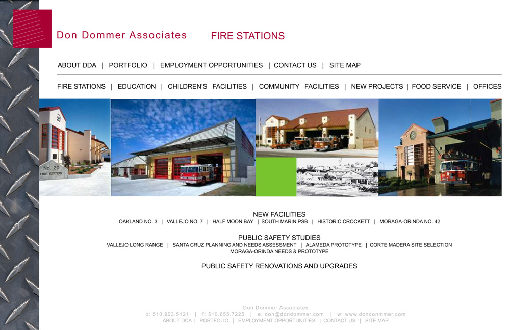 Partial list of some of the fire station projects DDA has worked on